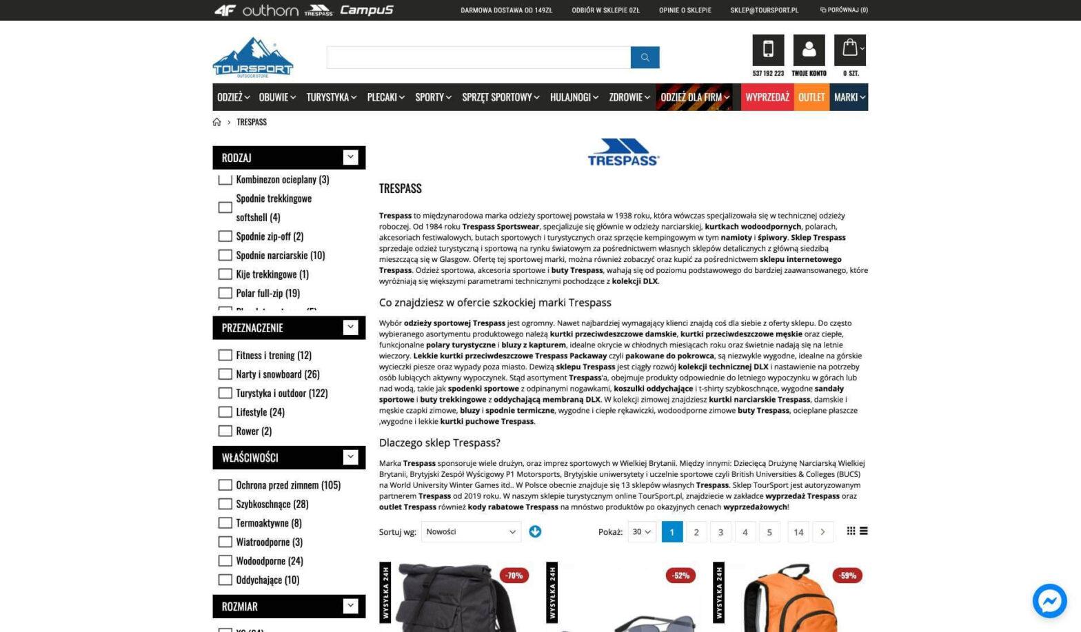 trespass producent odzieży sportowej i turystycznej