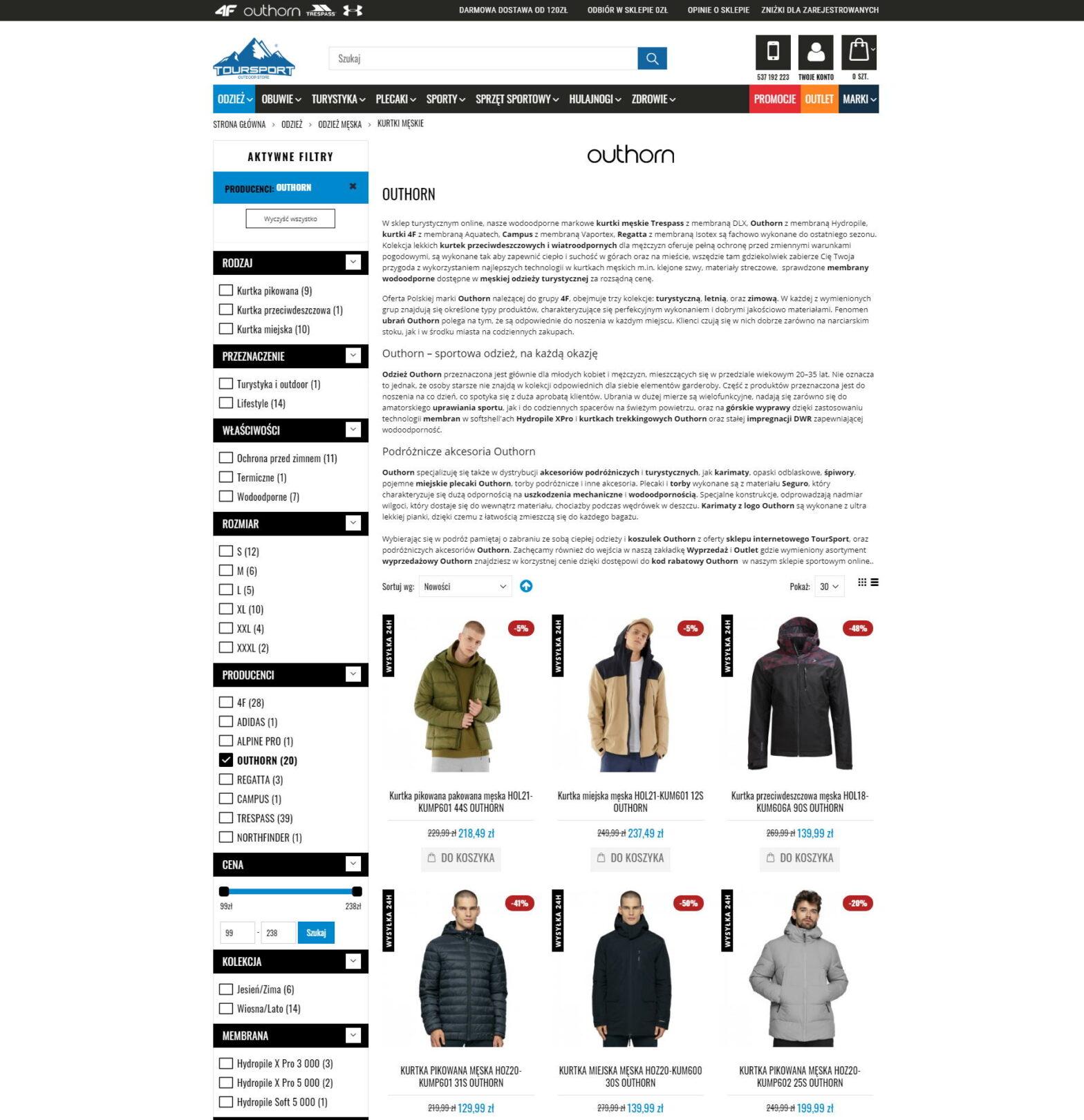 Toursport.pl- męskie kurtki firmy Outhorn